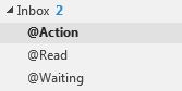 Image of the three folders that you'll use to process your emails, positioned at the top of your folder list.
